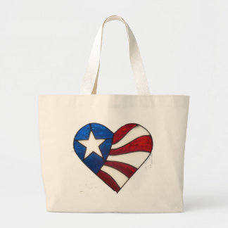 RED WHITE & BLUE HEART LARGE TOTE BAG