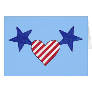 Red White Blue Heart Stars and Stripes Cards