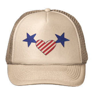 Red White Blue Heart Stars and Stripes Hats