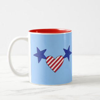 Red White Blue Heart Stars and Stripes Mugs