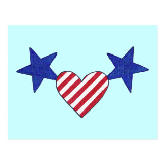 Red White Blue Heart Stars and Stripes Postcards