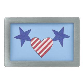Red White Blue Heart Stars, Stripes Belt Buckles