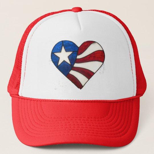 RED WHITE & BLUE HEART TRUCKER HAT