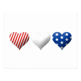 Red White And Blue Hearts Postcards Zazzle