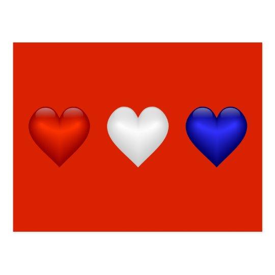 Red White Blue Hearts Postcard Zazzlecom