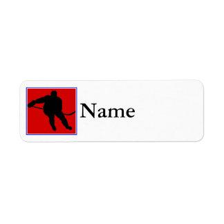 Red white & blue hockey logo return address label