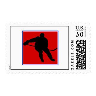 Red white & blue hockey logo postage
