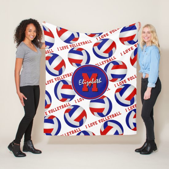 red white blue I love volleyball sporty room decor Fleece Blanket