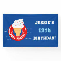 Red White Blue Ice Cream Pool Party Kids Summer Banner