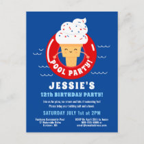 Red White Blue Ice Cream Pool Party Kids Summer Invitation Postcard