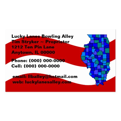 Red White Blue Illinois IL Map State Business Card  Zazzle