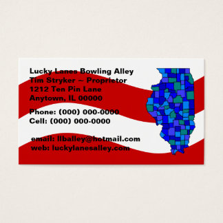 Red White Blue Illinois IL Map State Business Card