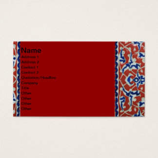 Red, white, blue Iznik pottery Tile Ottoman Empire Business Card