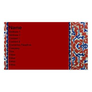 Red, white, blue Iznik pottery Tile Ottoman Empire Business Card Template