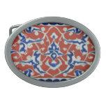 Red, white, blue Iznik Turkish Tile Ottoman Empire Oval Belt Buckle