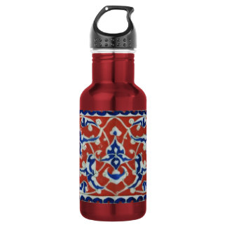 Red, white, blue Iznik Turkish Tile Ottoman Empire Water Bottle