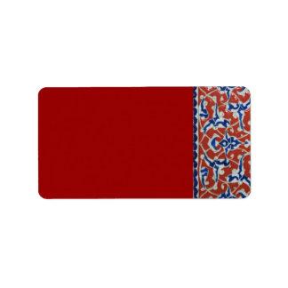 Red, white, blue Iznik Turkish Tile Ottoman Era Label