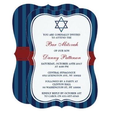 Beach Themed Red, White & Blue Jewish Star Of David Bar Mitzvah Card