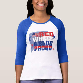 Red White & Blue Ladies 3/4 Sleeve Raglan (Fitted) T-Shirt
