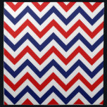 """Red, White, Blue Large Chevron ZigZag Pattern Cloth Napkin<br><div class=""""desc"""">Red, White and Blue Large Chevron ZigZag Pattern You can also customize this with your own images and text to create your own unique one-of-a-kind design. Please note that this is a digitally created graphic design that&#39;s transferred to the underlying product. The design itself doesn&#39;t contain actual ribbon, labels, metals,...</div>"""