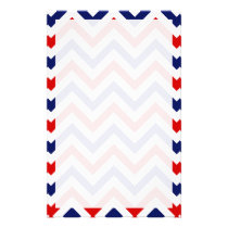Red, White, Blue Large Chevron ZigZag Pattern Stationery