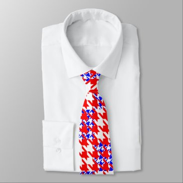 Red White Blue Large Houndstooth Check Neck Tie
