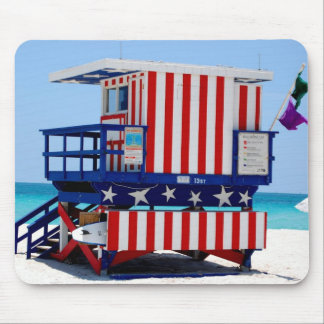red white blue lifeguard stand mouse pad