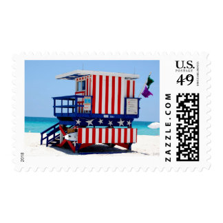 red white blue lifeguard stand postage