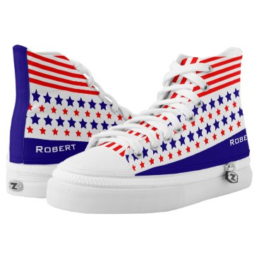 Beach Themed Red White Blue Lines and Stars Patriot American High-Top Sneakers