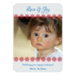 """Red White Blue Love and Joy Flat Holiday Cards 5"""" X 7"""" Invitation Card"""