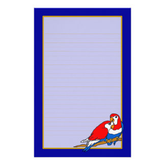 Red White & Blue Love Birds Fine Lined Stationery