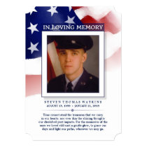 Red White & Blue Loving Memory Photo Thank You Card