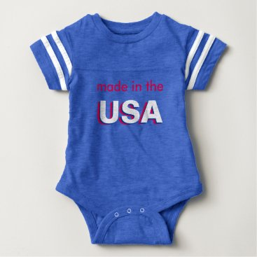 USA Themed Red White & Blue made in USA Patriotic Baby Onesy Baby Bodysuit