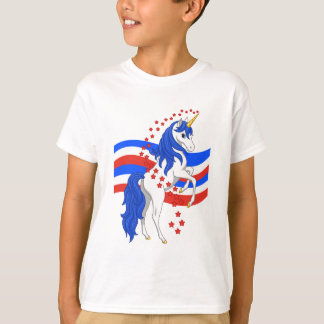 Red White Blue Mane American Unicorn T-Shirt