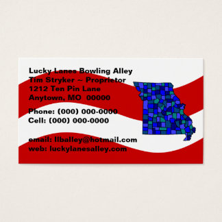 Red White & Blue Missouri MO Map Business Card