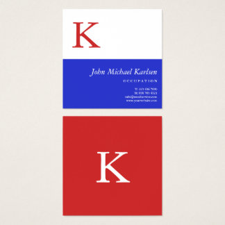 Red White Blue | Modern Monogram Square Business Card