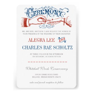 Red White Blue Modern Vintage Typography Invite