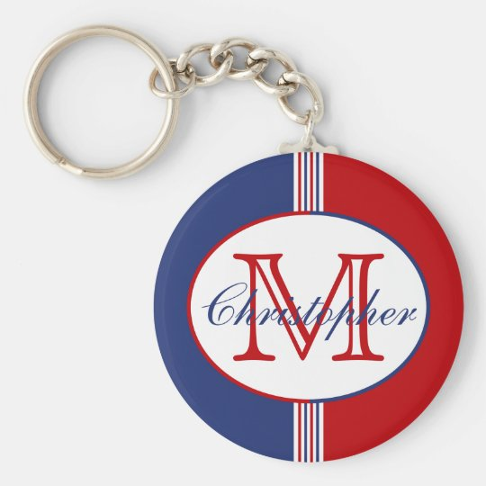 Red White Blue Monogram Keychain