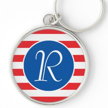 USA Themed Red White & Blue Monogram Keychain