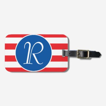 USA Themed Red White & Blue Monogram Luggage Tag