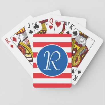 USA Themed Red White & Blue Monogram Playing Cards