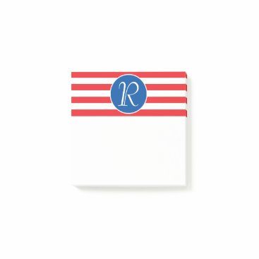 USA Themed Red White & Blue Monogram Post-it Notes
