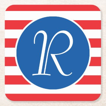 USA Themed Red White & Blue Monogram Square Paper Coaster