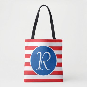 USA Themed Red White & Blue Monogram Tote Bag