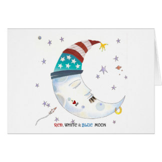 Red, White & Blue Moon Card