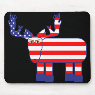 Red, White, & Blue Moose Mouse Pad