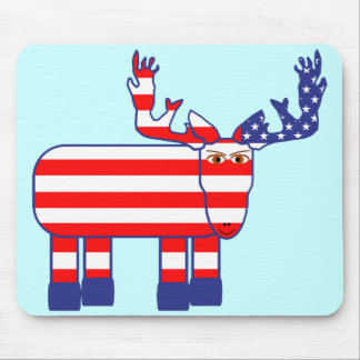 Red, White & Blue Moose Mouse Pad