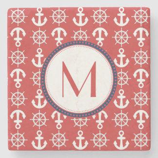 Red White Blue Nautical Anchors Wheels Monogram Stone Coaster