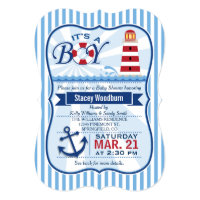 Red, White, & Blue Nautical Lighthouse Baby Shower Card
