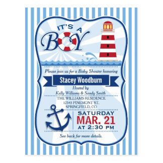 Red, White, & Blue Nautical Lighthouse Baby Shower Postcard
